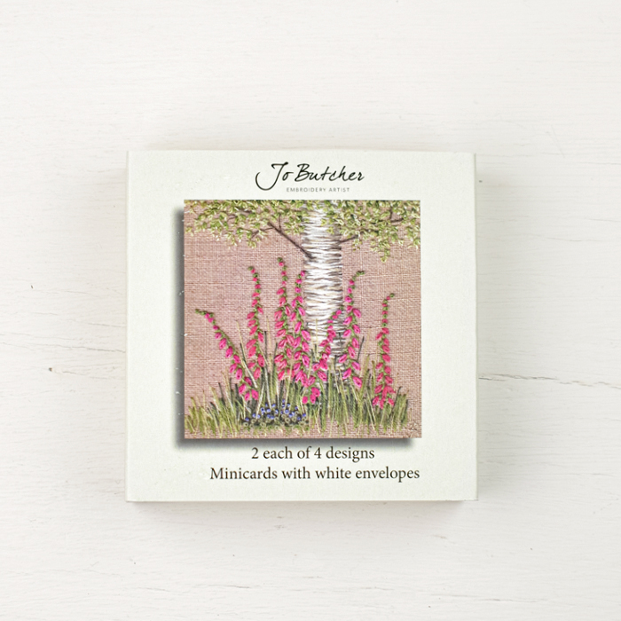 Jo Butcher Mini Cards - Foxgloves & Silver Birch