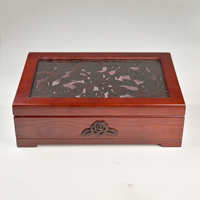 Embroidered Panel Display Box - Rose